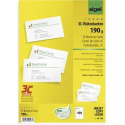 Sigel LP790 Printable business cards (smooth edge) 85 x 55 mm Bright white 100 pc(s) Paper size A4