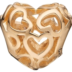 Ladies Christina Gold Plated Sterling Silver Heart Beat Love Bead Charm 623 G01