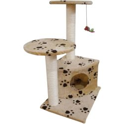 vidaXL Scratching Cat Play Pole Beige with Paw Print