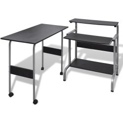 vidaXL 2 Piece Computer Desk with Pull out Keyboard Tray Black