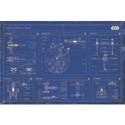 Star Wars Rebel Alliance Fleet Blueprint Poster multicolour