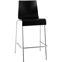 Nico Black Stainless Steel Small Snack Bar Stool (Set of 4)