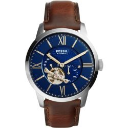 Fossil Men Townsman Automatic Brown Leather Watch One size