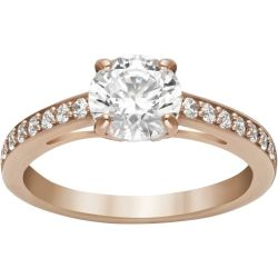 Attract Round Ring White Rose gold tone plated
