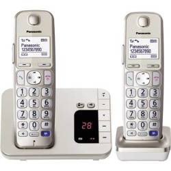 Panasonic KX TGE222 Duo Cordless Big Button Answerphone Hands free Backlit Champagne