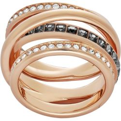 Dynamic Ring Grey Rose gold tone plated