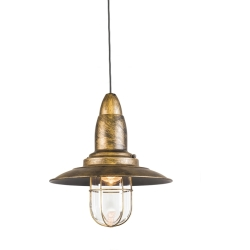 Vintage Round Pendant Lamp Bronze with Glass Shade Pescador