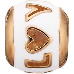 Ladies Christina Gold Plated Sterling Silver Enamel Love Bead Charm 623 G13