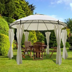 vidaXL Round Gazebo with Curtains 3 5 x 2 7 m