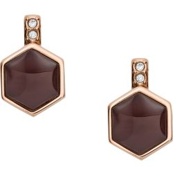 Fossil Women Hexagon Rose Gold Tone Stainless Steel Earrings One size