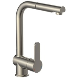SCHÜTTE Sink Mixer with Pull out Spray LONDON Low Pressure Stainless Steel Look