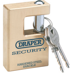 Draper Expert Solid Brass Padlock Closed Shackle 63mm Standard