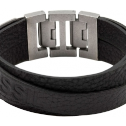 Fossil Men Black Double Bracelet One size