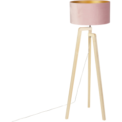Floor lamp tripod wood with pink velor shade 50 cm Puros