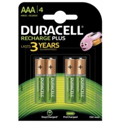 Duracell Battery Rechargeable Accu NiMH 750mAh AAA Ref 81364750 Pack 4
