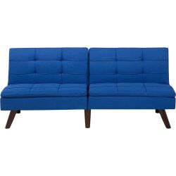 Modern Fabric Sofa Bed Cobalt Blue Polyester Solid Wood Frame Reclining Ronne