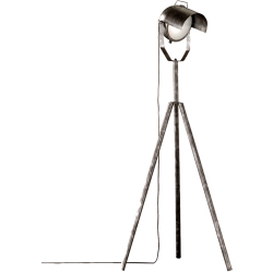 Industrial Floor Lamp Tripod Antique Silver with Spotlight Showtime