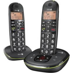 doro PhoneEasy 105wr Duo Cordless Big Button Visual call notification Answerphone Backlit Black