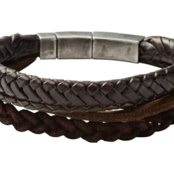 Fossil Men Brown Braided Double Bracelet One size