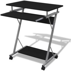vidaXL Compact Computer Desk with Pull out Keyboard Tray Black