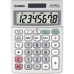 Casio MS 88ECO Desk calculator Silver Display (digits) 8 solar powered battery powered (W x H x D) 103 x 31 x 145 mm