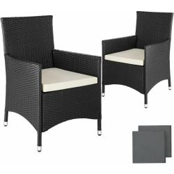 2 garden chairs rattan 4 seat covers model 2 outdoor seating garden seating rattan chair black TECTAKE