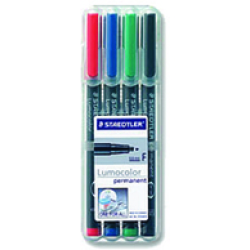 Staedtler Lumocolor 318 WP4 permanent marker Black Blue Green Red...