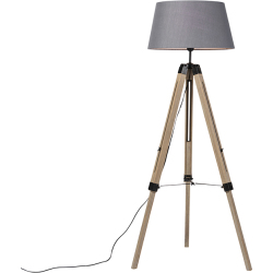 Rural wood floor lamp with gray shade Tripod