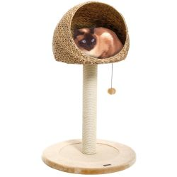 Karlie Banana Leaf Little Den Scratching Post Natural Beige