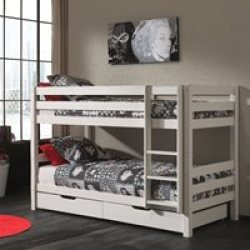 Pino Kids Bunk Bed in 3 Heights in White Low Bunk 140cm
