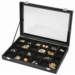 Jewellery box with 24 storage compartments girls jewellery box wooden jewellery box jewellery storage black