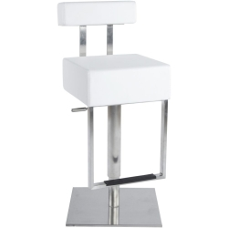 Bruna White Stainless Steel Gas Lift Bar Stool