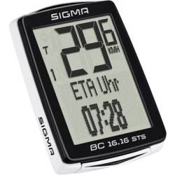 Sigma BC 16.16 STS CAD Bike computer (cordless) Coded transmission wheel sensor cadence sensor