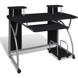 vidaXL Computer Desk with Pull out Keyboard Tray Black