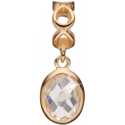 Ladies Christina Gold Plated Sterling Silver Moving Crystal Bead Charm 623 G48