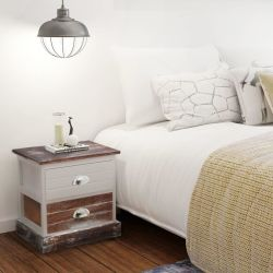 vidaXL Bedside Cabinets 2 pcs Brown and White