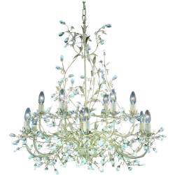 12 Light Multi Arm Ceiling Pendant Gold Cream with Crystals Floral Leaves Design E14