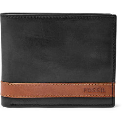 Fossil Men Quinn Large Coin Pocket Bifold Black One size