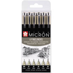 Pigma Micron Archival Drawing Pens Pack of 6