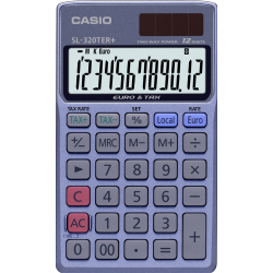 Casio SL 320TER Pocket calculator Blue Display (digits) 12 solar powered battery powered (W x H x D) 70 x 8 x 118.5 mm