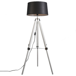 Industrial floor lamp white with black linen shade Tripod