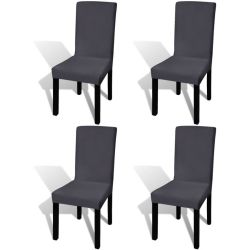 vidaXL Straight Stretchable Chair Cover 4 pcs Anthracite