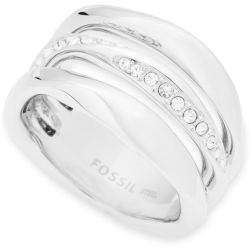 Ladies Fossil Silver Plated Size M.5 Ring Size L.5