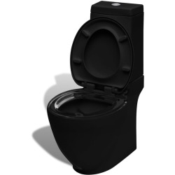 vidaXL Ceramic Toilet Black