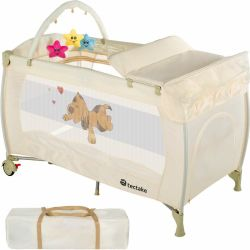 Tectake Travel cot dog with changing mat and play bar cot bed baby travel cot pop up travel cot beige