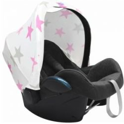Dooky Hoody Universal Car Seat Hood Replacement Pink Stars White
