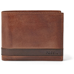 Fossil Men Quinn Large Coin Pocket Bifold Brown One size