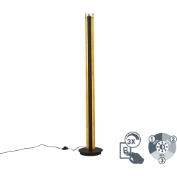 Floor lamp black with gold incl. LED dimmable 3 steps Malta