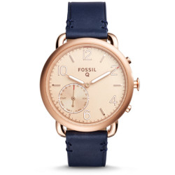 Fossil Women Hybrid Smartwatch Tailor Dark Navy Leather Blue Gold One size