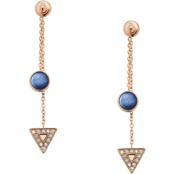 Fossil Women Geometric Rose Gold Tone Stainless Steel Front Back Earrings One size